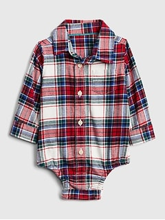 Flannel Long Sleeve Bodysuit