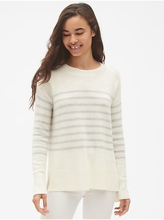 Stripe Crewneck Pullover Sweater Tunic