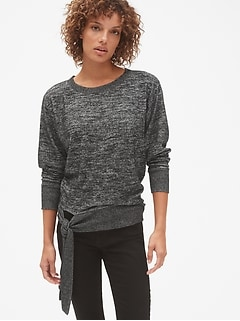 Softspun Brushed Pullover Sweatshirt with Tie-Hem