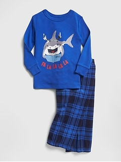 Shark Plaid PJ Set