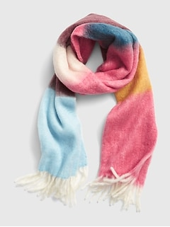 Brushed Colorblock Fringe Scarf