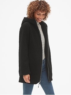 Hooded Zip-Front Teddy Coat