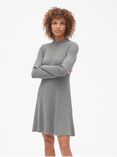 Ribbed Mockneck Skater Dress