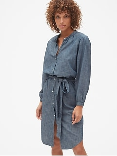 Perfect Pleated Tie-Belt Shirtdress in TENCEL™
