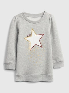 Toddler Star Applique Tunic Sweatshirt