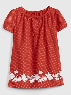 Embroidered Floral Dot Dress