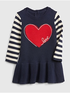 Heart Stripe Peplum Sweater Dress