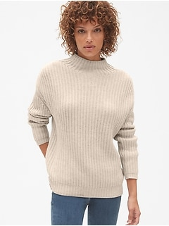 Shaker Stitch Pullover Turtleneck Sweater