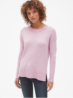 Pullover Crewneck Sweater Tunic in Wool-Blend