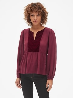 Velvet Bib Split-Neck Blouse