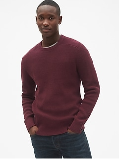 Shaker Stitch Pullover Crewneck Sweater