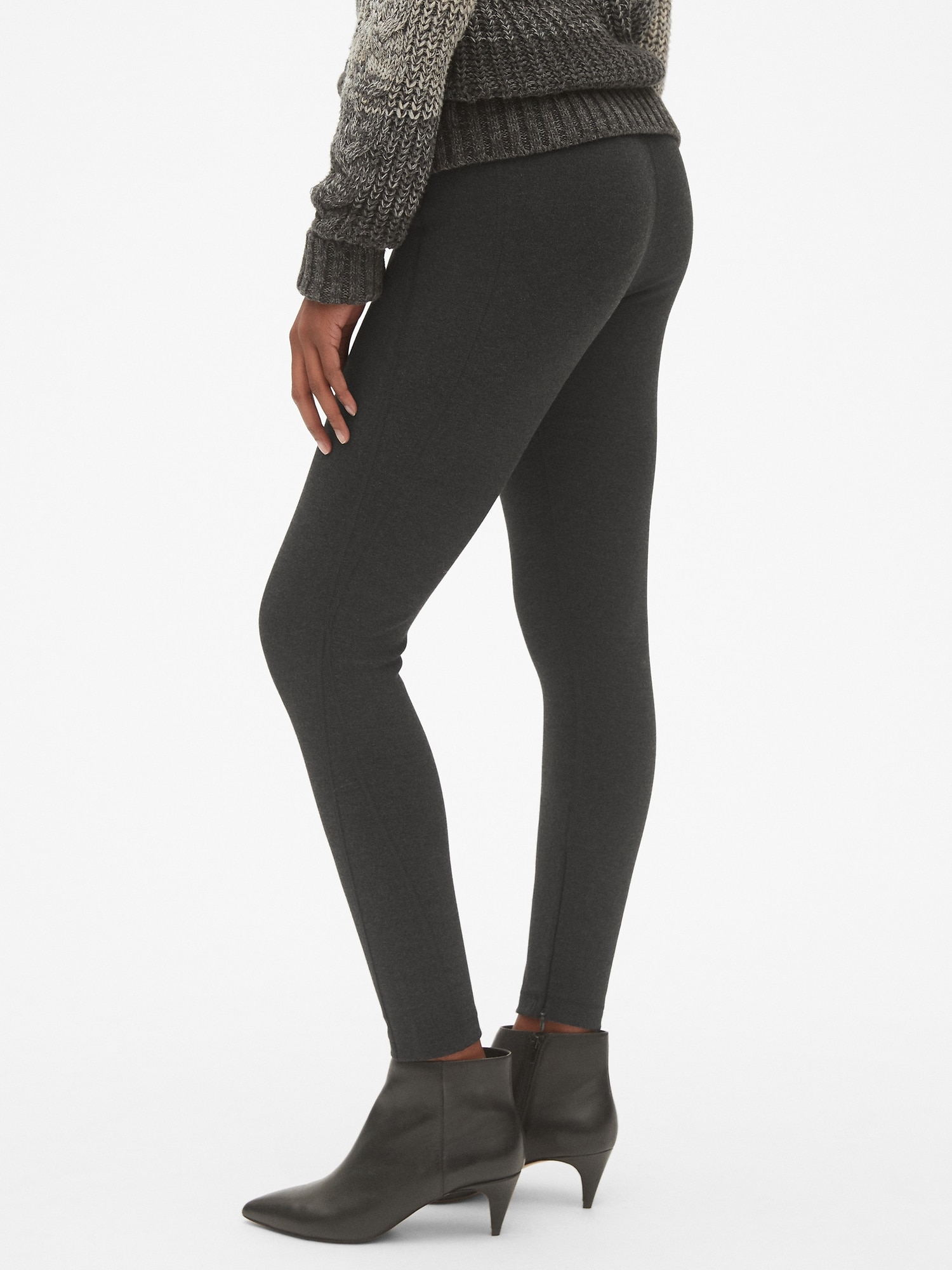 8b664aeefdc0a Sculpt High Rise Ankle-Zip Leggings in Ponte | Gap
