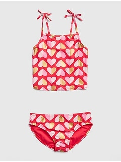 Metallic Heart Swim Two-Piece