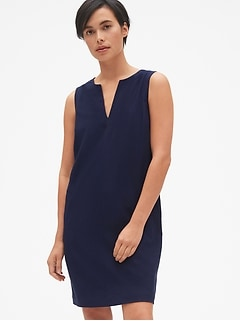 Sleeveless Split-Neck Shift Dress