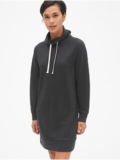 Funnel-Neck Pullover Sweatshirt Dress