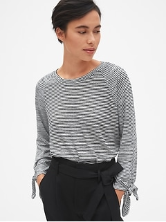 Softspun Mix-Fabric Tie-Sleeve Top