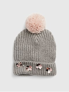 Floral Sequin Pom Beanie