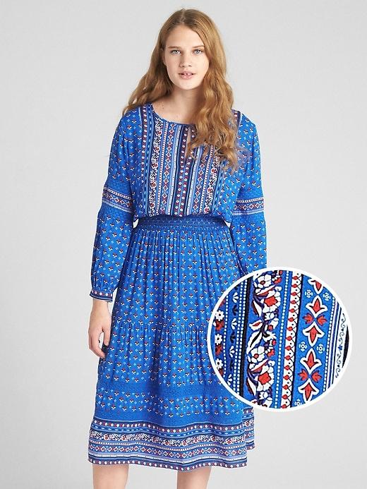 Gap Womens Mix-Print Long Sleeve Tiered Midi Dress Blue Print Size S Petite