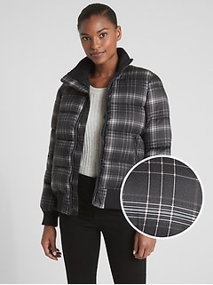 Plaid Puffer Bomber Jacket
