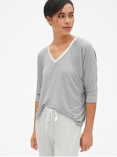 Metallic Speckled V-Neck T-Shirt in Modal