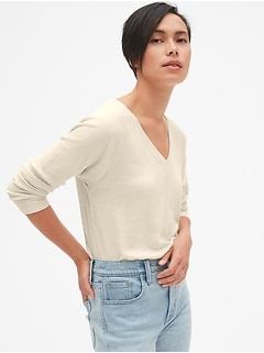 Softspun Mix-Fabric Long Sleeve V-Neck Top