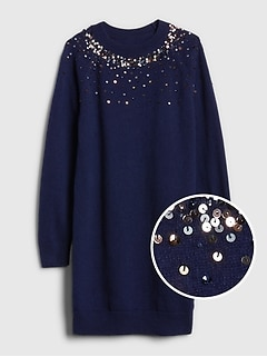Sequin-Sleeve Sweater Dress