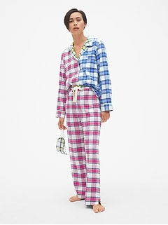 Cozy Flannel PJ Set with Eye Mask