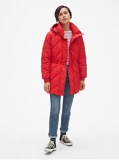Elongated Puffer Jacket with Cinched-Waist