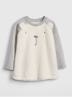 Sherpa Bear Sweatshirt Dress