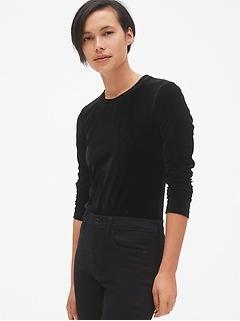 Velvet Long Sleeve Crewneck T-Shirt