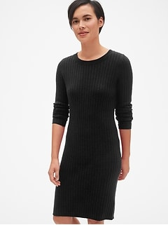 Cozy Ribbed Crewneck Sweater Dress