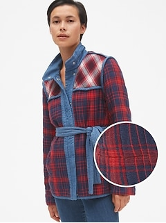 Plaid Patchwork Quilted Tie-Belt Jacket