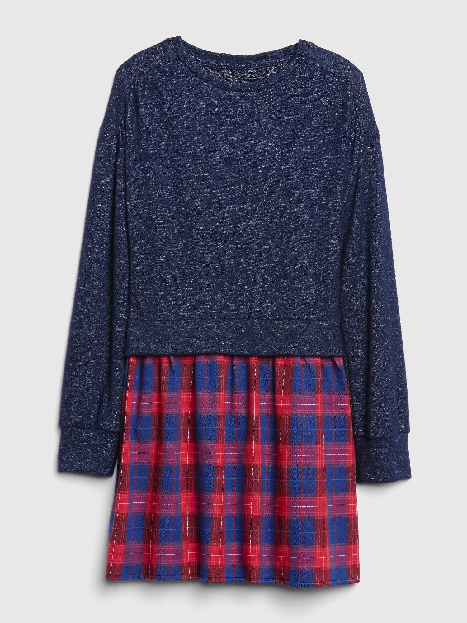 dd7e9a4e5 Plaid Mix-Fabric Dress