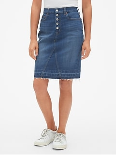 487cddedb5ec High Rise Button-Fly Denim Pencil Skirt with Raw Hem