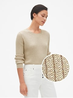 True Soft Metallic Ribbed Pullover Sweater