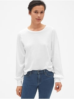 Blouson Sleeve Crewneck Top