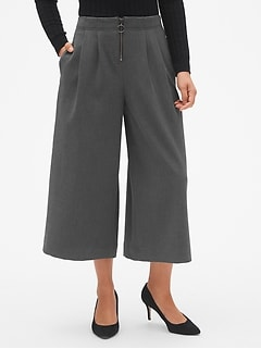 High Rise Wide-Leg Crop Pants with O-Ring Zip