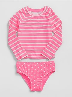 Stripe Dot Rashguard Swim Two-Piece
