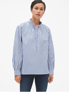 Stripe Shirred Popover Shirt