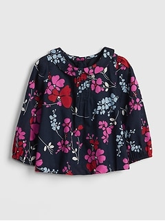 Floral Collar Pleated Top