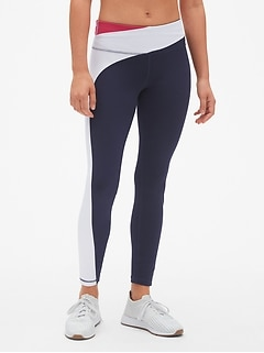GapFit Asymmetrical Colorblock Full Length Leggings in Eclipse