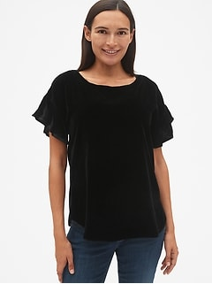 Maternity Velvet Ruffle Sleeve Top