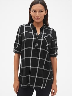 Maternity Roll-Sleeve Flannel Popover Shirt