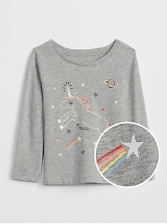 Sparkle Graphic Long Sleeve T-Shirt