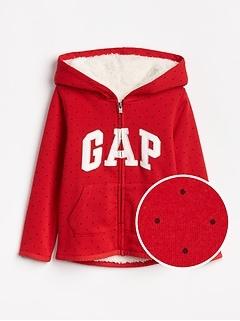 Sherpa-Lined Logo Hoodie Sweatshirt