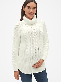 cba661eed Maternity Cable-Knit Turtleneck Pullover Sweater