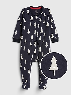 Organic Print Footed One-Piece
