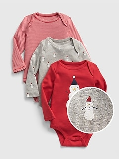 First Favorite Snowman Long Sleeve Bodysuit (3-Pack)