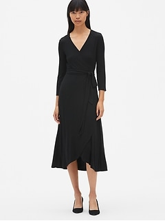 Three-Quarter Sleeve Knit Wrap Midi Dress