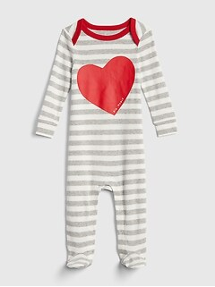 First Favorite Heart Stripe Footed One-Piece